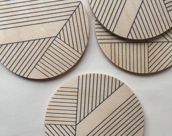 ART DECO modern coasters set of 4/ art deco coasters/ geometric coasters/ wood coasters/ mid century modern/ minimal/ hostess gift/ for her