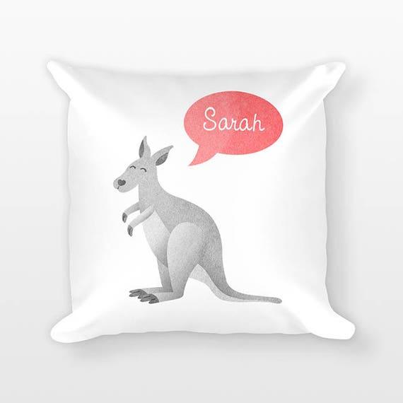 Personalized Pillow, Kangaroo Pillow, Custom Name Pillow, Gift for Kids Gift, Kids Room Decor, Animal Pillow, Decorative Throw Pillow