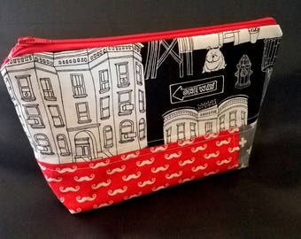READY TO SHIP   Zippered Makeup Pouch   Mustaches, Cityscape, Swiss Cross