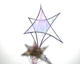 Uplifting Star - Stained Glass Ornament - Shimmering White Christmas Holiday Tree Decoration Handmade Suncatcher Wire (READY TO SHIP)
