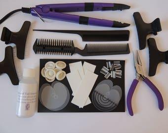 Hair extension fitting kit for Pre Bonded nail tip hair, bonds.