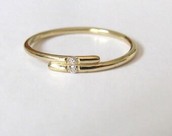 Yellow Gold Diamond Ring, Dual Diamond Ring, Minimalist Diamond Ring, Thin Engagement Ring, Wedding Ring, Diamond Engagement