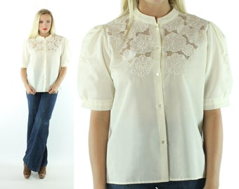 80s Ivory Lace Blouse Puff Sleeve Top Floral Embroidered Short Sleeve Button  Down Shirt Vintage 1980s