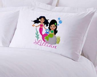 "Monogrammed Mermaids Pillowcase 30"" x ""20"
