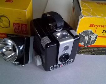 140) camera and Kodak vintage flash