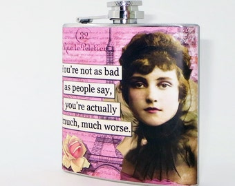 Flask, 6 oz Stainless Steel, Funny Gift, Flask for Woman Gift, Friend Gift, Pink Stocking Stuffer, Whiskey Flask, Sarcastic, Secret Santa F8
