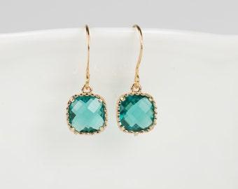 Blue Zircon Birthstone Gold Earrings, Blue Zircon Gold Square Earrings, December Birthstone Gold Earrings, Bridesmaid Jewelry #807