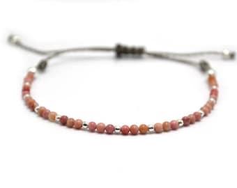Rhodonite Bracelet / Silver Bracelet / Pink Bracelet / Friendship Bracelet / Pound Bracelet / Stackable Bracelet / Minimalist Bracelet.