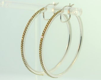 Yellow Diamond Hoop Earrings- Sterling Silver