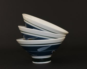 Vintage Japanese Rice Bowls, Hand Painted Porcelain Ricebowls