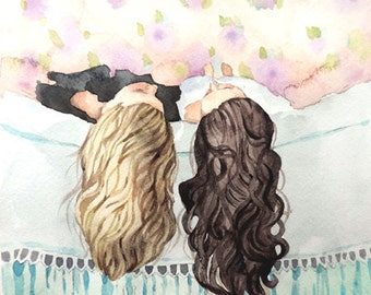 Best Friends Art - Sisters Art - Watercolor Painting Print