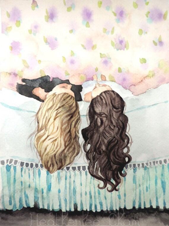 Best Friends Art Sisters Art Watercolor Painting Print