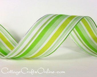 "Wired Ribbon, 1 1/2"", Green Striped Sheer - TWO & 1/8 YARDS - Offray ""Garden Stripe"" #70106 St. Patrick's Day, Spring Wire Edged Ribbon"