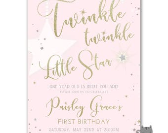Twinkle Twinkle Little Star First Birthday Invitation, Twinkle Twinkle Little Star invites, Twinkle Star Invitation, Pink, Silver, Gold