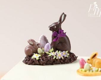 MTO-Chocolate Easter Rabbit Family Display (E) - Miniature Food in 12th Scale for Dollhouse
