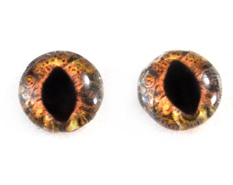 10mm Steampunk Glass Eyes Brown Cat or Dragon Taxidermy Cabochons - Fantasy Eyes for Jewelry Making or Sculptures - Set of 2