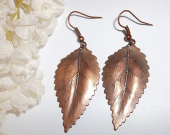 Costume Jewelry Earrings Vintage Copper Leaf Nature Woods Leaves Fall Autumn Fashion Women Woman Boho Leaves Dangle Statement wvluckygirl