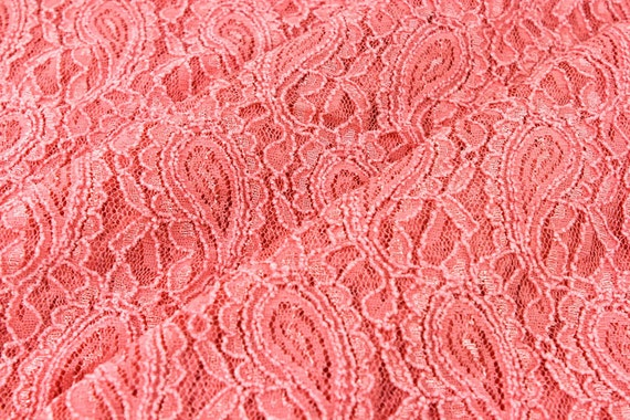 Masala Coral Sugar Stretchy Lace Fabric by the Yard, for Bridal ...