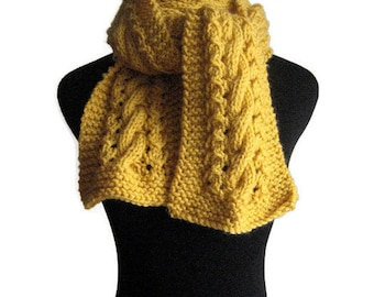 Hand Knit Scarf, Yellow Cable and Lace Scarf, The Stef Scarf, Womens Scarf, Cable Knit Scarf, Mustard Yellow Scarf, Vegan Knit, Winter Scarf