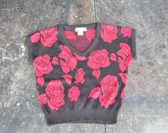 Floral crop top sweater   v-neck pullover sweater   Cropped sweater    80s top   Valentines day   1970s roses   hipster top   Small XS