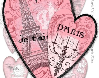 Paris Hearts Collage Sheet - Perfect for Valentines - Instant Download - Digital Download - Pink Black and White Shabby Chic