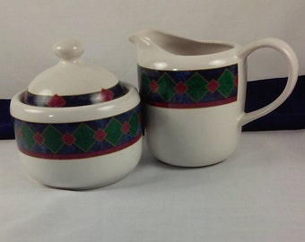 Pfaltzgraff Almalfi Cream and Sugar Set, White Red Green Blue Porcelain Creamer and Sugar Bowl with Lid