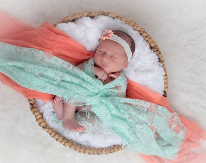 Small Peach Satin Flower on Lace headband, perfect for all ages, including newborn photo shoots