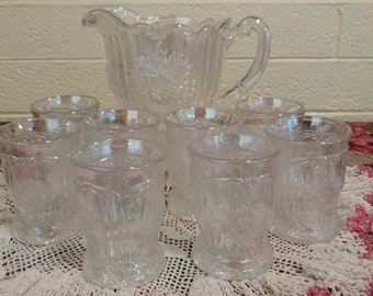 Vintage Clear Iridescent Dahlia Pitcher with Eight Tumblers by Mosser Glass Co.
