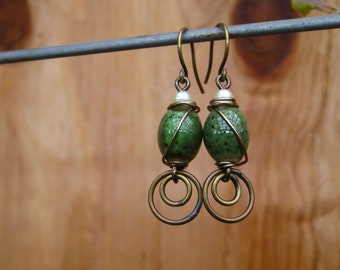 Antique Brass Wire-wrapped Ceramic Green Oval Bead Earrings