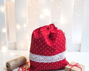 Red drawstring bag, Drawstring gift bag, Linen drawstring bag, Christmas bread bag, Polka dot product bag, Linen bread bag, laundry bag