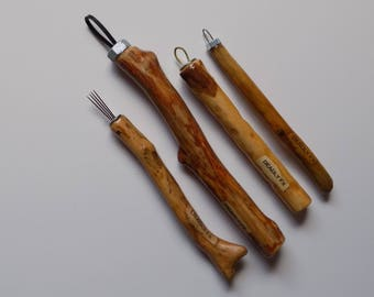 Hand-Crafted (Set of 4) Wooden Sculpting Tools