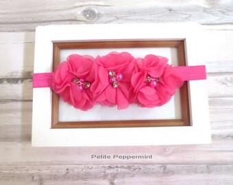 Hot Pink Baby headband, baby hair bow, newborn headband, toddler hair bow, Pink baby bow head band, infant headband, girl hair bow