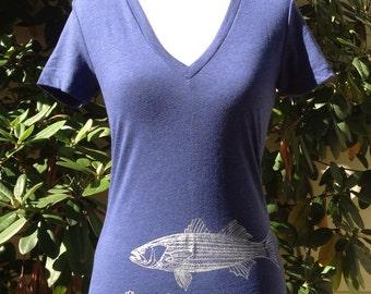 Striper Bass V-Neck Shirt