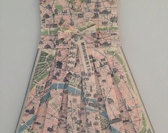 "PARIS- 26"" x 18"" Vintage Map Dress- Rosettes, Nursery Wall Hanging, Girl's Bedroom, Wall Art, Hanging Paper Dress"