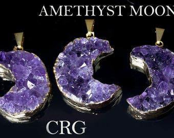 "Gold Plated Brazilian AMETHYST Druzy Half-Moon Pendant 30mm FREE 18"" CHAIN (DR40CN)"