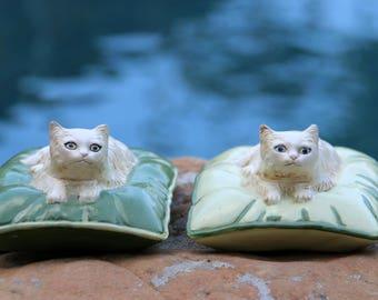 Cat Lover Gift - Handmade Pottery Cat Figures - Midcentury Modern Cat Art - Ceramic Long Haired White Cat Figurines - Live in Moment Vintage