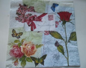 1 napkin beautiful roses, butterflies, 2 different sides 33 x 33 cm