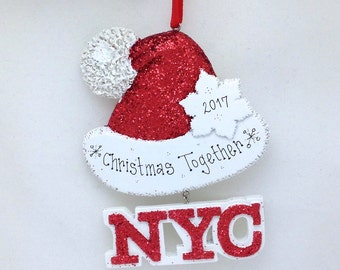 New York City Personalized Christmas Ornament / Sparkly Santa Hat Ornament / New York Christmas in New York Souvenir
