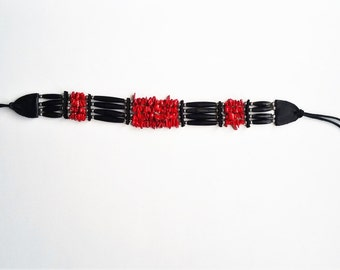 Black Horn and Red Coral Native Choker