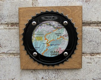 "6""x6"" Recycled Bicycle Chainring Clear Creek Plaque"
