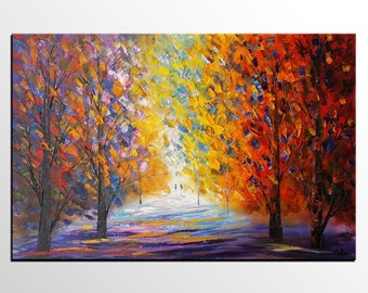 Canvas Art, Abstract Painting, Oil Painting, Autumn Tree Painting, Canvas Painting, Landscape Painting, Original Art, Living Room Wall Art