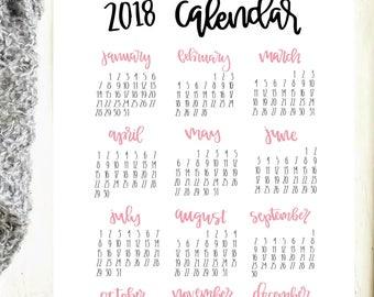 2018 Calendar PDF, desk calendar, wall calendars, wall calendar 2018,  yearly wall calendar,  2018 wall calendar, Printable Calendar