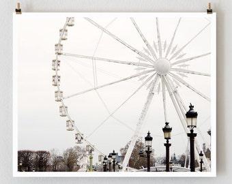 Paris Photography, Ferris Wheel, Minimalist Wall Art Print, Extra Large Art, Modern Urban Wall Decor, Gift for Her