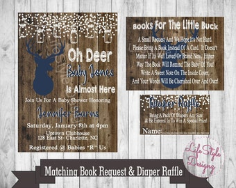 Rustic Baby Shower Invitation - Oh Deer - Winter Baby Shower - Rustic Invite - Babyshower - Snow Baby - Baby Buck On The Way - Deer -
