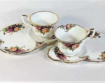 Royal Albert Bone China Plate and Teacup Snack Set Old Country Roses Pattern Fine China Luncheon Snack Sets Made in England