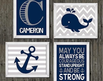 Nautical nursery decor, whale nursery decor, quote for boys, personalized nursery decor, nautical prints, navy blue and gray nursery, art