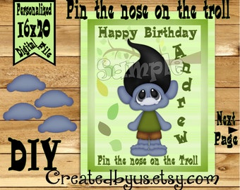 Pin the Nose on the Troll PRINTABLE party game Birthday Party Game ideas Pin the Tail DIY 16x20 Printable game poster Download