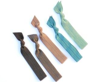 Deep Water - 5 Comfort Elastic Hair Ties / Bands / Bracelets