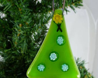 Fused Glass Green Christmas Tree with Millefiori decoration
