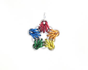 Rainbow Star Pendant, Chain Maille Pendant, Multicolor Jewelry, Star Charm, Rainbow Jewelry